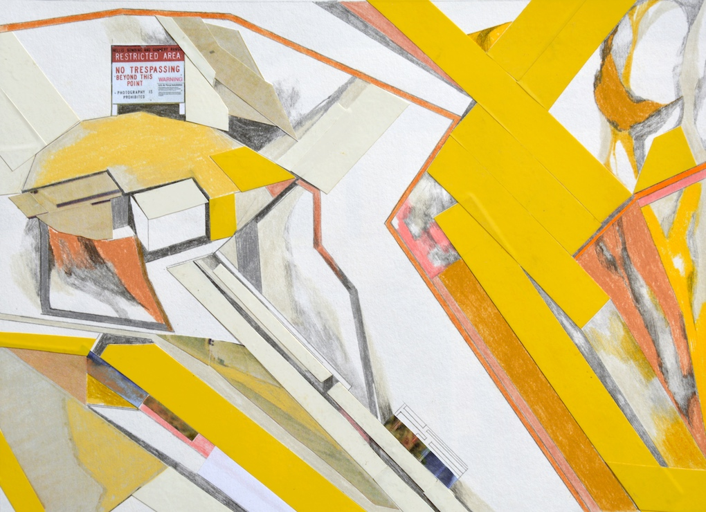 """""""Area 51"""" - 24,5 x 17,5 cm - 2014 - collage, mixed media on paper"""