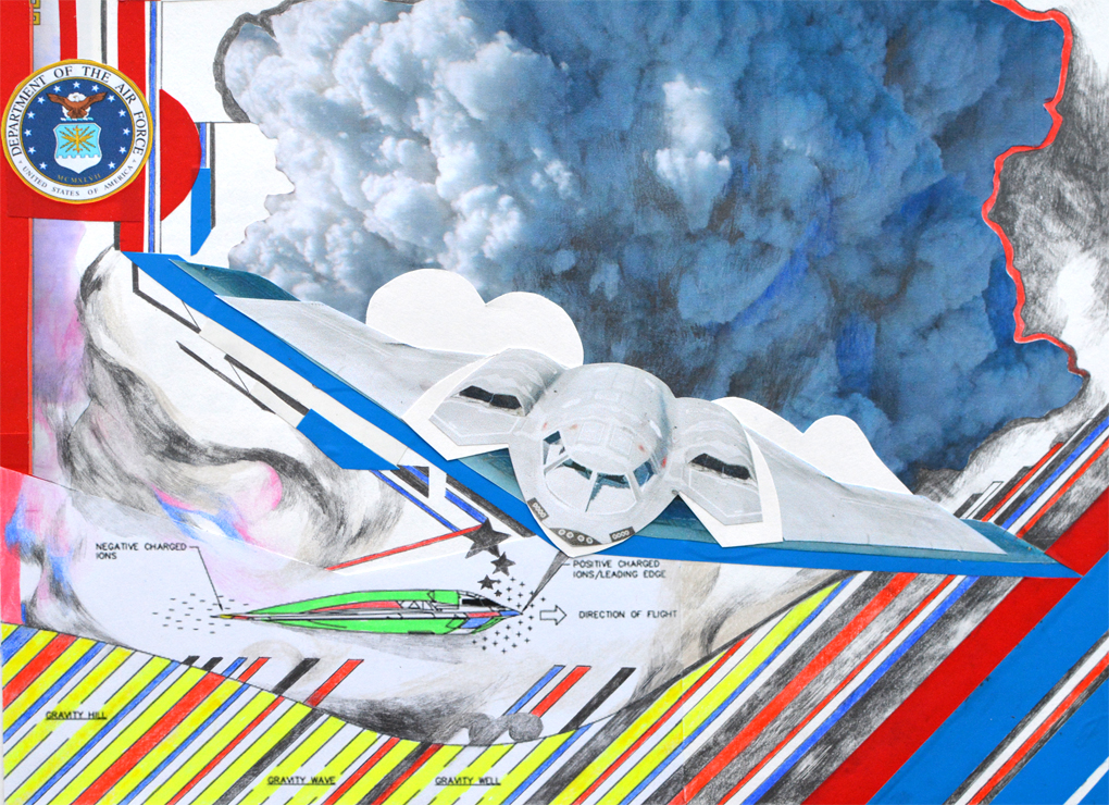 «B2 bomber project» - 28,5 x 21,5 cm - 2017 - collage, mixed media on paper