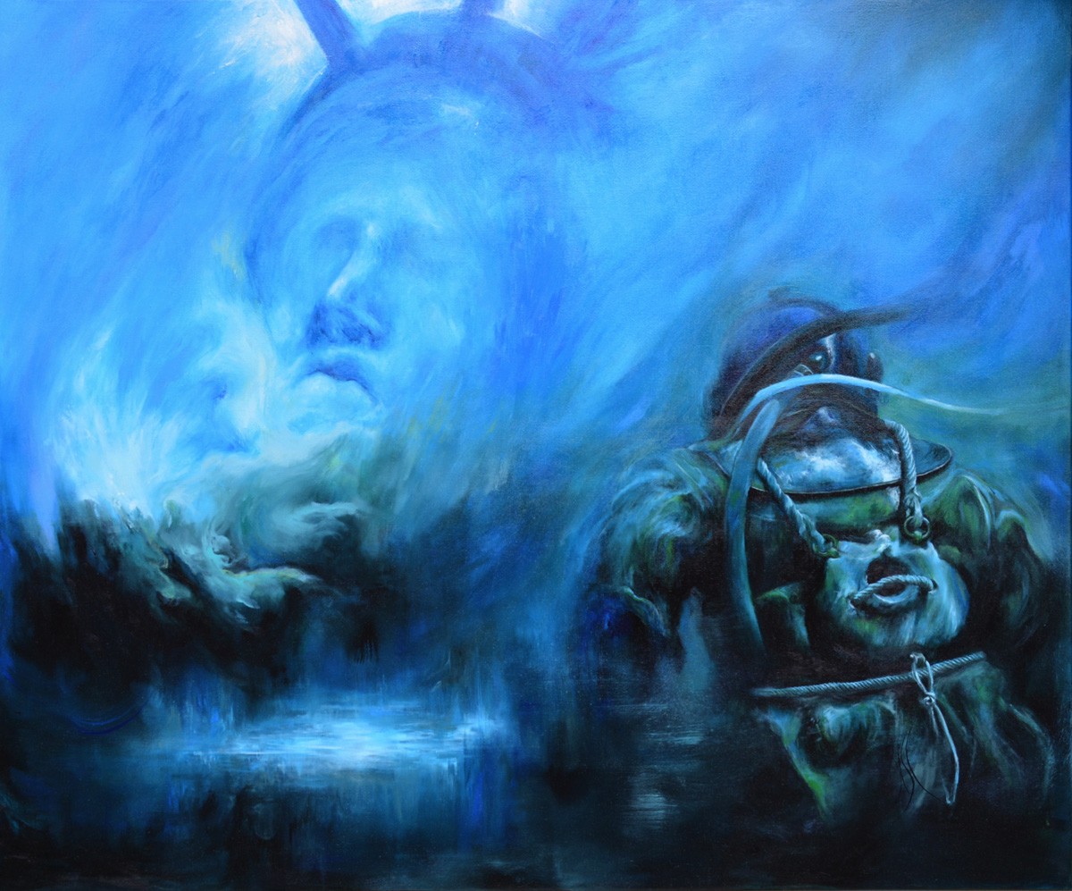 « Drowned liberty » - 120 x 100 cm (39,7 x 47,2 in) - 2017 - oil painting on canvas